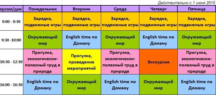 Расписание занятий лето 2015